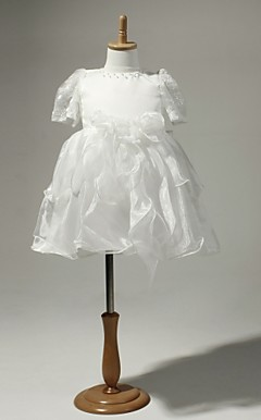 Satin And Tulle Short Sleeves Flower Girl Dress
