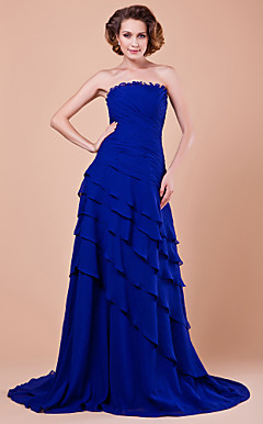 A-line Strapless Sweep Brush Train Chiffon Mother Of The Bride Dress