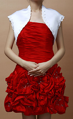 Short Sleeves Satin Special Occasion Jacket/ Wedding Wrap (More Colors)