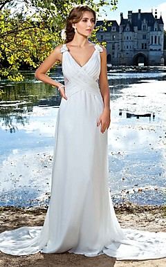 A-line V-neck Watteau Train Satin Chiffon Evening Dress With Removable Train