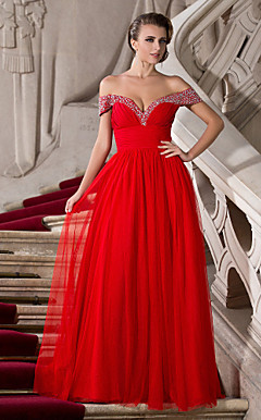 A-line Off-the-shoulder Floor-length Tulle And Chiffon Evening Dress