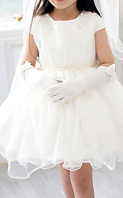 A-line Short Sleeve Mini length Tulle & Chiffon Flower Girl Dress With Pearls