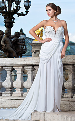 Sheath/Column Sweetheart Court Train Chiffon Evening Dress