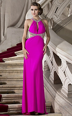 Sheath/Column Halter Floor-length Knitwear Beaded Evening Dress