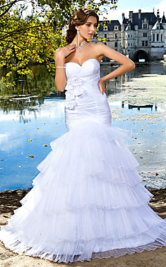 Trumpet/ Mermaid Sweetheart Floor-length Organza Tiered Wedding Dress