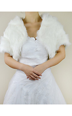 Appealing Short Sleeve Faux Fur Evening/Wedding Jacket/Wrap
