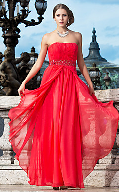 Sheath/Column Strapless Floor-length Chiffon Evening Dress With Beading And Draping