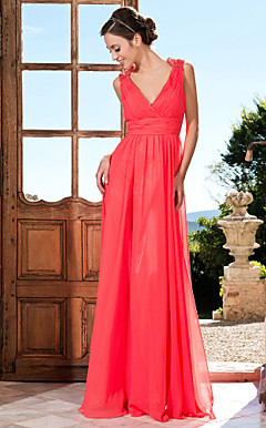 Sheath/Column V-neck Floor-length Chiffon Criss Cross Ruching Beading Evening Dress