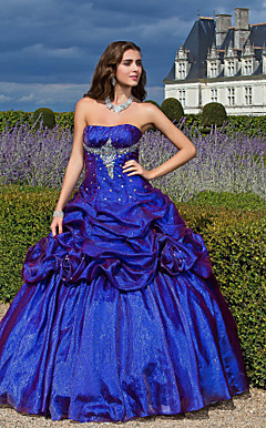 Ball Gown Strapless Floor-length Organza Prom/Evening Dress With Flowers And Pick Up Skirt