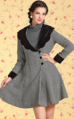 TS VINTAGE Contrast Collar Check Wave Hem Tweed Coat