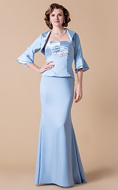 Trumpet/Mermaid Strapless Floor-length Chiffon And Stretch Satin Mother of the Bride Dress With A Wrap