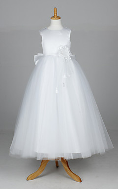 Sleeveless Tulle And Satin Wedding/Evening Flower Girl Dress With Flowers