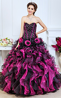 Ball Gown Sweetheart Floor-length Organza And Sequined Evening Dress With Beading And Cascading Ruffles