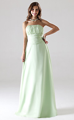 Strapless Floor-length Chiffon Bridesmaid/Wedding Party Dress