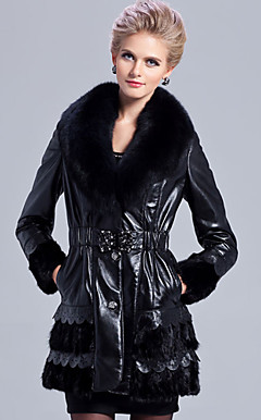 Chic Long Sleeve Fox Fur Shawl Collar Lambskin Leather With Mink Fur Casual/Party Coat (More Colors)
