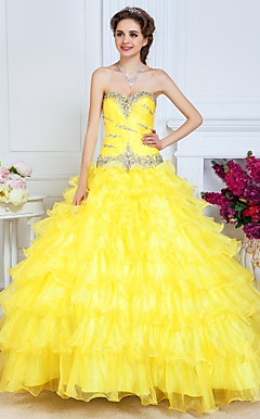 Ball Gown Sweetheart Floor-length Organza Evening Dress With Cascading Ruffles And Tiers