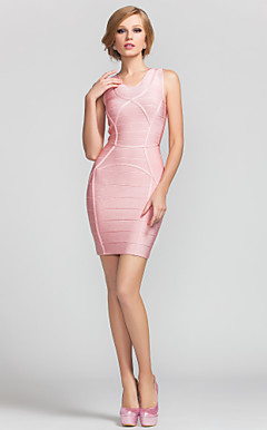 Sheath/Column Jewel Short/Mini Rayon Nice Bandage Dress