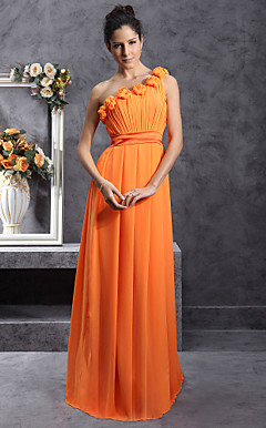 Sheath/Column One Shoulder Floor-Length Chiffon Over Stretch Satin Bridesmaid Dress