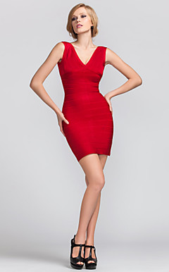 Sheath/Column V-neck Short/Mini Rayon Classical Design Bandage Dress