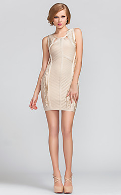 Sheath/Column Jewel Short/Mini Rayon Simple Design Bandage Dress