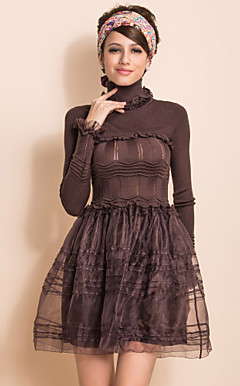 TS VINTAGE High Neck Knitted Top Organza Ball Dress