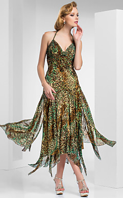 A-line Haulter Tea-length Print Chiffon Evening Dress