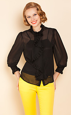 TS Ruffle Collar Three Quarter Sleeve Blouse Shirt