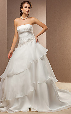 A-line Princess Strapless Organza And Satin Chapel Train Wedding Dress