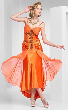 A-Line Spaghetti Straps Tea-Length Chiffon and Satin Evening Dress