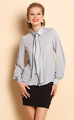 TS Bow Tie Lantern Sleeve Blouse Shirt