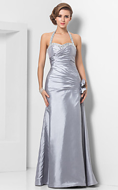 Sheath/Column Halter Floor-length Taffeta Evening Dress