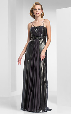 A-line Spaghetti Straps Sweep/Brush Train Foil Chiffon Evening Dress