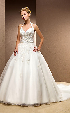 Ball Gown Halter Satin And Tulle Chapel Train Wedding Dress