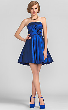 A-line Princess Strapless Short/Mini Taffeta Cocktail Dress