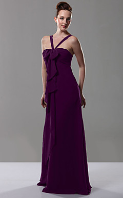 Empire V-neck Floor-length Chiffon Over Mading Bridesmaid/ Wedding Party Dress