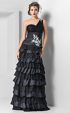 Sheath/Column One Shoulder Floor-length Tulle And Chiffon Evening Dress