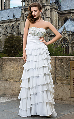 A-line/Princess Strapless Floor-length Chiffon Evening Dress