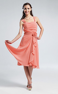 Clearance!A-line Straps Knee-length Chiffon Bridesmaid Dress