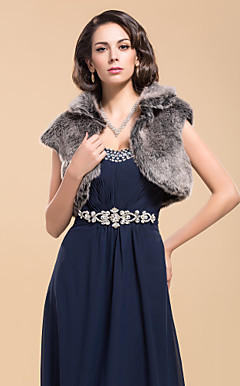 Elegant Short Sleeve Faux Fur Special Occasion Jacket/Wrap