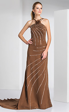 Sheath/Column Straps Sweep/Brush Train Chiffon Evening Dress