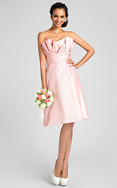 A-line Scalloped Knee-length Taffeta Bridesmaid Dress