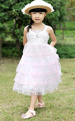 Nice Sleeveless Polyester/Tulle Wedding/Evening Flower Girl Dress