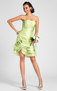 Mantel / Spalte strapless knielangen Taft Brautjungfer Kleid