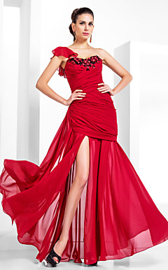 Trumpet/Mermaid One Shoulder Floor-length Chiffon Evening Dress
