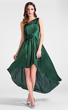 A-line One Shoulder Floor-length/Asymmetrical Chiffon Cocktail Dress