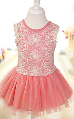 Pretty Sleeveless Cotton/Tulle Wedding/Evening Flower Girl Dress