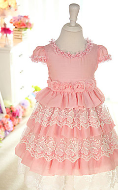 Pretty Short Sleeve Cotton / Lace Wedding / Evening Flower Girl Dress