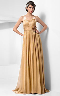 Sheath/Column V-neck Floor-length Chiffon And Lace Evening Dress