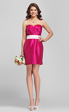 Skede / Kolonne Stropløs Short / Mini Taffeta brudepige Dress