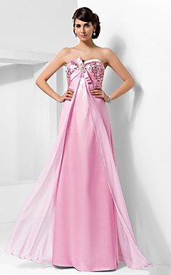 Sheath/Column Sweetheart Floor-length Chiffon And Stretch Satin Evening Dress